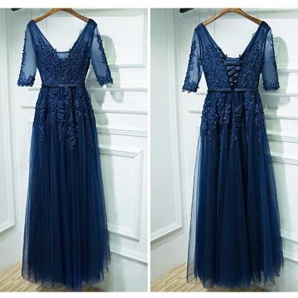 Elegant Prom Dress,Half Sleeve Appl..