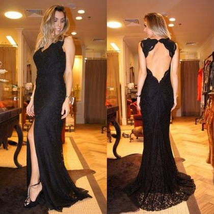 Elegant Black Prom Dress, Backless ..