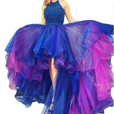 Halter Prom Dress,High Low Prom Dress,Bead Organza Prom Party Evening Dress