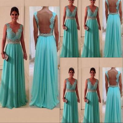 Lace Prom Dress, Backless Prom Dress, Blue Prom Dress, Prom Dress 2015, Cheap Prom Dress, Occasion Dress, Prom Dress