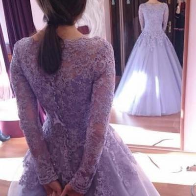 Modest Lilac Long-sleeved Prom Dress,Prom Ball Gowns,Lace Prom Dress,Evening Dress for Women,Evening Gowns ,Formal Dress,Party Gowns,Prom Dress Plus Size ,Prom Dress Costume