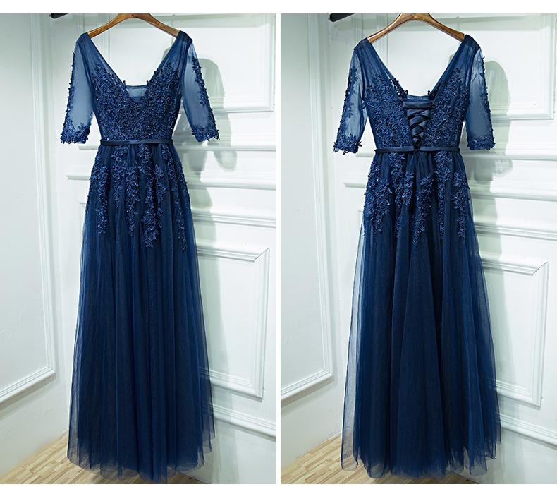 Elegant Prom Dress,Half Sleeve Appliques Prom Dress,Tulle Long Dress for Prom,Vintage Evening Dress,Formal Evening Dresses