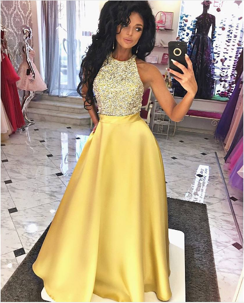Yellow A Line Round Neck Long Prom Dress,Yellow Formal Dress