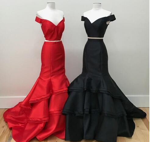 New Designer Popular Prom Dresses Two Piece Mermaid Off the Shoulder Sleeveless Evening Dress Tiered Satin Sweep Train Special Occasion Dress