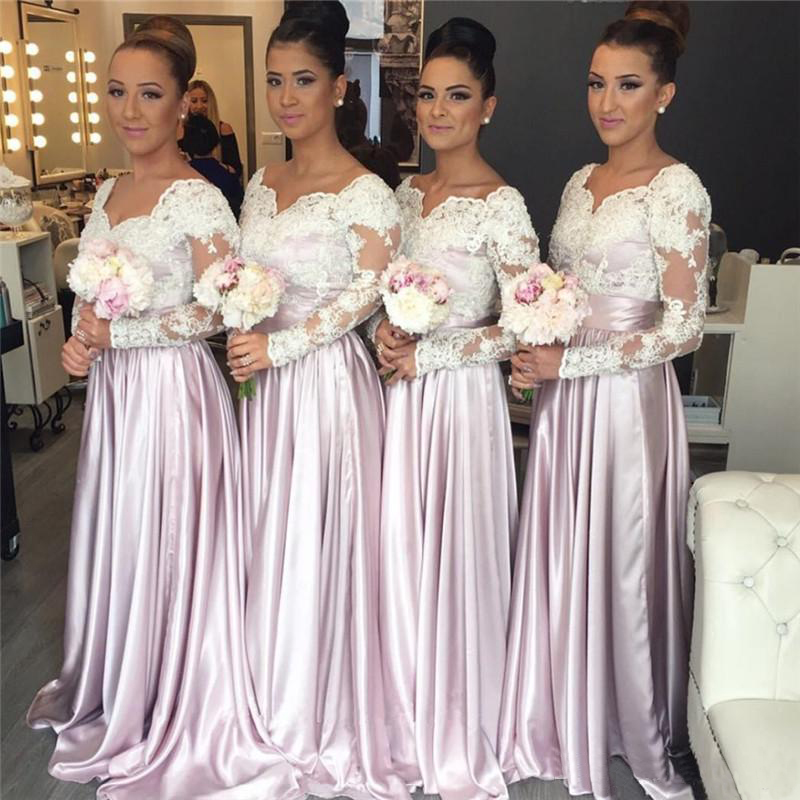 Long Sleeves Bridesmaid Dress,White Lace Bridesmaid Dress,Pink Satin  Bridesmaid Dress,Plus Size Bridesmaid Dress,Bridesmaid Dress For Women