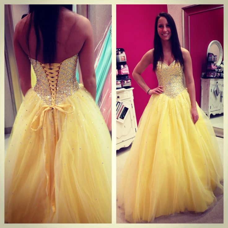Yellow Prom Dress, Sweet Heart Prom Dress, Lace Up Prom Dress ...