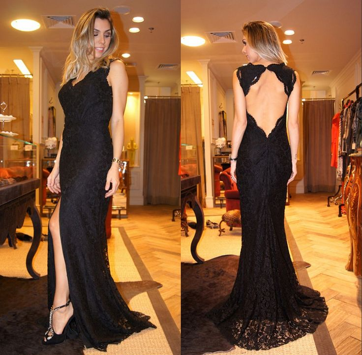 Elegant Black Prom Dress, Backless Prom Dress, Lace Dress, Evening Dress, Formal Prom Dress, Dress For Prom