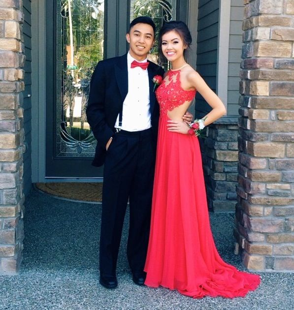 Custom Made A Line Round Neck Red Lace Prom Dresses, Red Lace Formal Dresses, Red Lace Evening Dresses LB11