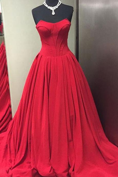 Sweetheart Neck Long Red Chiffon Prom Dresses Floor Length Women Prom Dresses