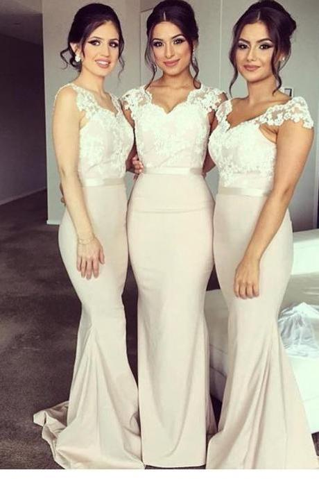 bridesmaid dress,lace cap sleeves v neck long mermaid bridesmaid dresses,elegant evening gowns,elegant formal dress