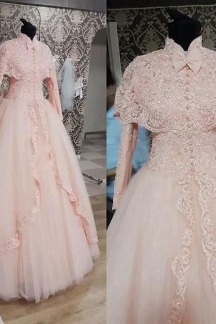 Gorgeous High Neck Long Sleeves Luxury Lace Wedding Dresses