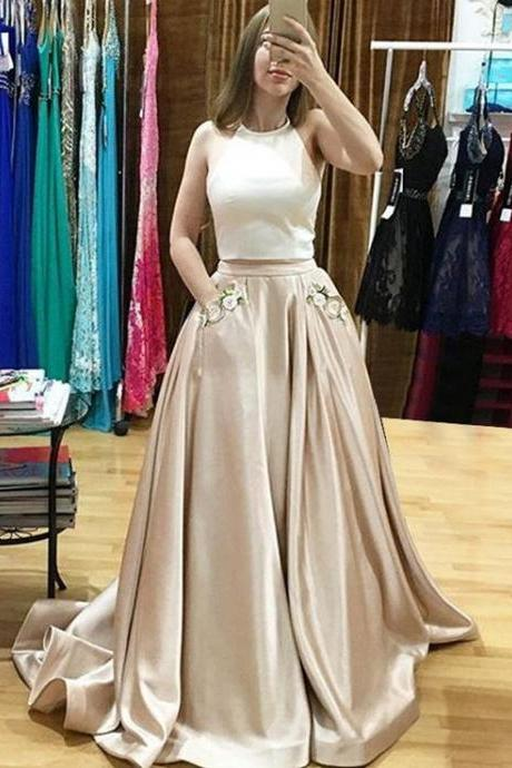 Champagne Two Piece Prom Dress,Halter Satin Formal Gown With Two Pockets