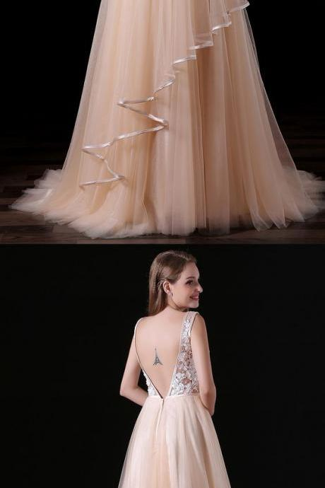 A-line V-neck Prom Dress ,Sweep Train Tulle Prom Dresses ,Prom Dress With Lace.Prom Dresses
