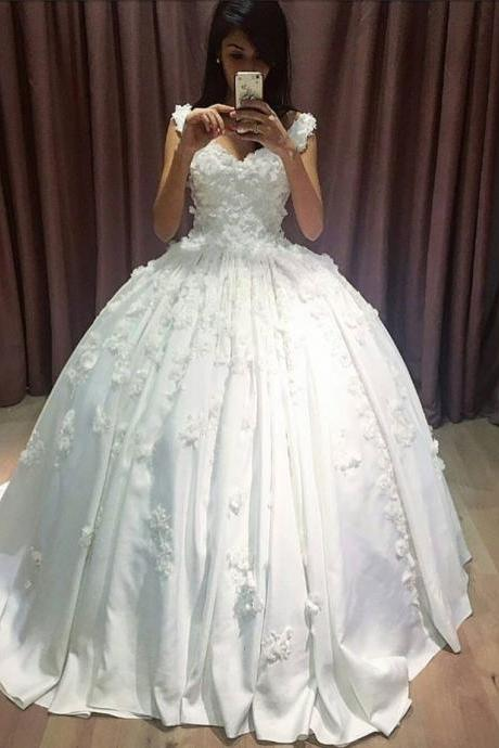 Cheap wedding dresses,V Neckline Lace Appliqued Corset Bridal Dresses Ball Gowns