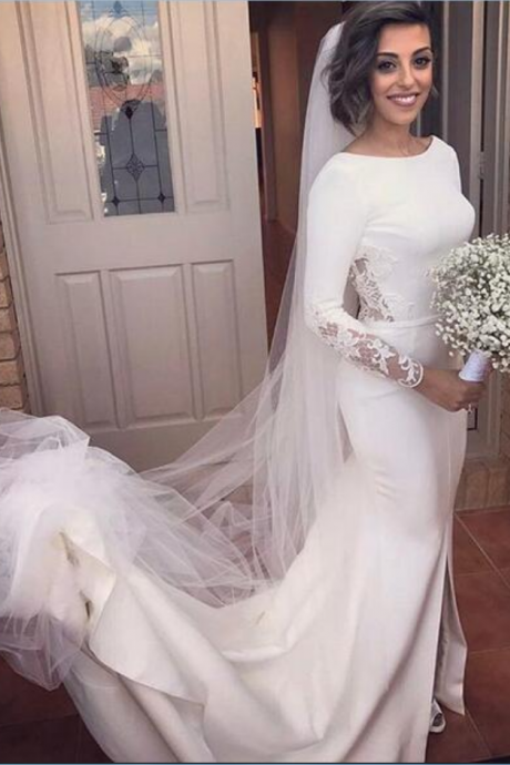 Simple Mermaid Wedding Dresses Crew Neck Long Sleeve Lace Gorgeous Bridal Gowns