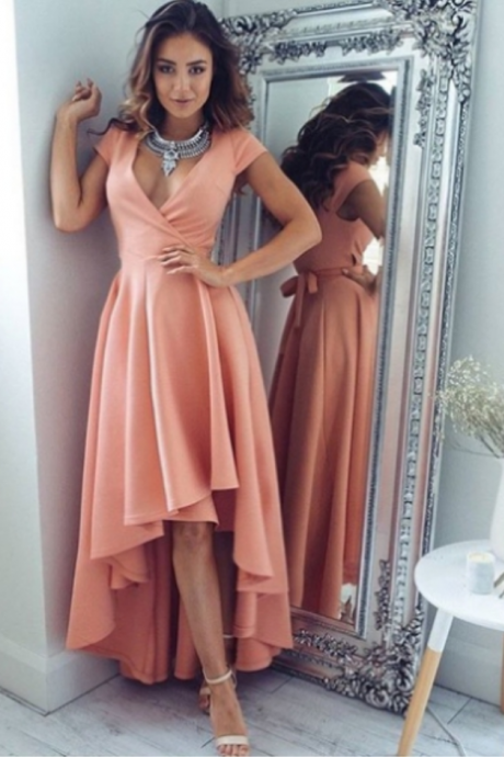 Zipper Asymmetrical V-Neck A-line Homecoming Dress Hot Sale Dresses