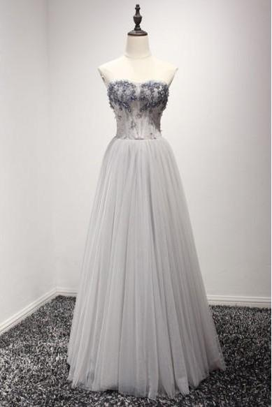 Silver Prom Dress,A Line Prom Dress ,Strapless Prom Dress