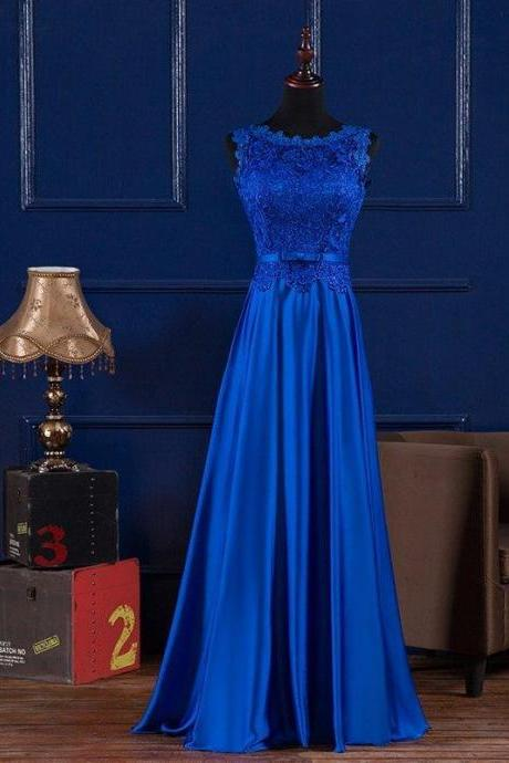 Blue Prom Dress,Lace Prom Dress