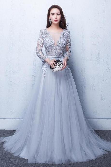 Grey Tulle Prom Dress,Lace Prom Dress