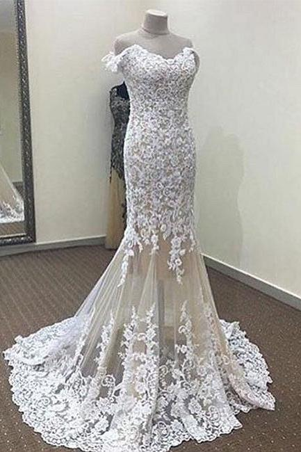 White Mermaid Off-the-shoulder Prom Dresses 2018 Long Lace Evening Dress