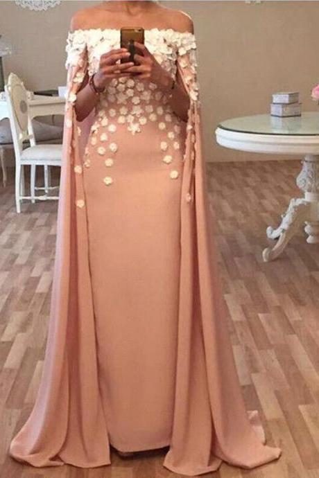Long Floor Length Prom Dress,Designer Cape Prom Dresses,Evening Dresses Appliques Flowers Glamorous Prom Dresses