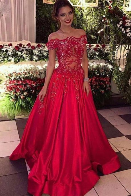 Off The Shoulder Prom Dress,Beads Sequins Prom Dresses, Formal Evening Dresses Cheap Popular Prom Dresses