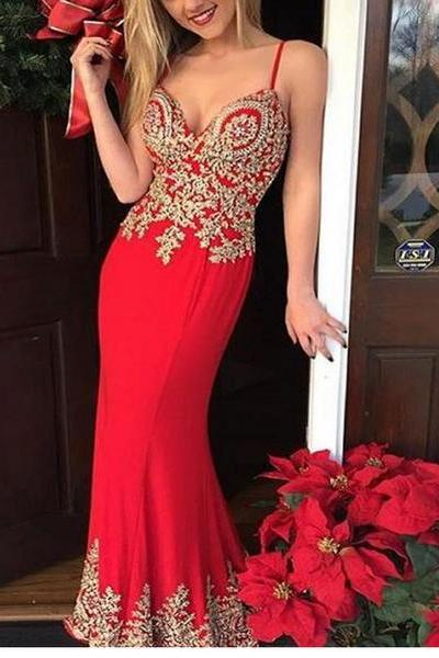 Red Mermaid Chiffon Prom Dresses Gold Appliques Sleeveless Evening Dresses Party Gowns with Spaghetti straps