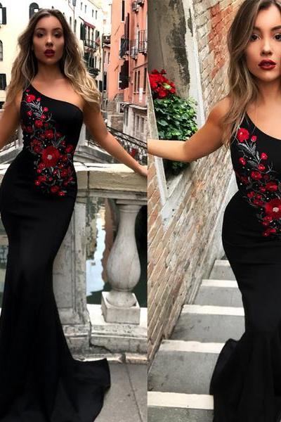 One Shoulder Mermaid Black Embroidery Pretty Long Prom Dresses, Cheap Prom Dresses