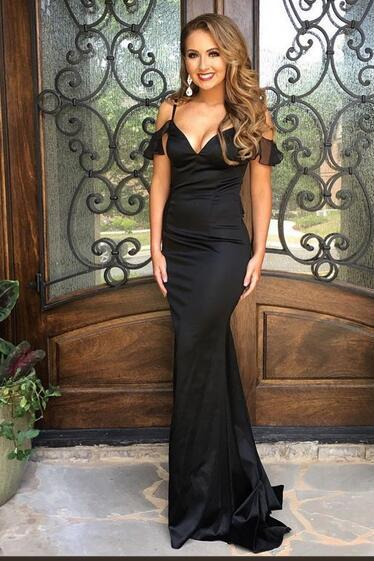 Black V Neck Mermaid Satin Prom Dresses Off the Shoulder Sleeveless Evening Dresses Formal Gowns Vestidos