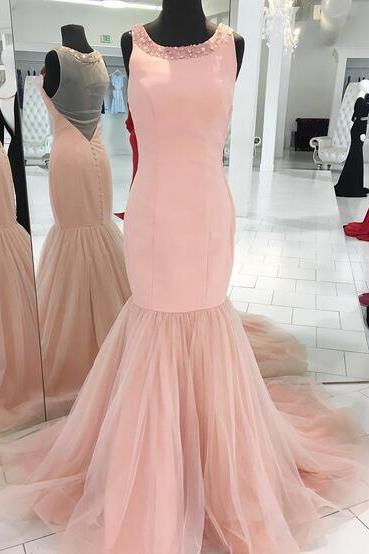 Beading Prom Dresses,Sexy Prom Dress,Long Mermaid Evening Dress,Mermaid Prom Dresses,Sheer Back Formal Evening Dress,Sexy Evening Dresses,Long Mermaid Formal Gowns,Light Pink Prom Dress,Prom Dresses Long Sexy,Long Party Dresses