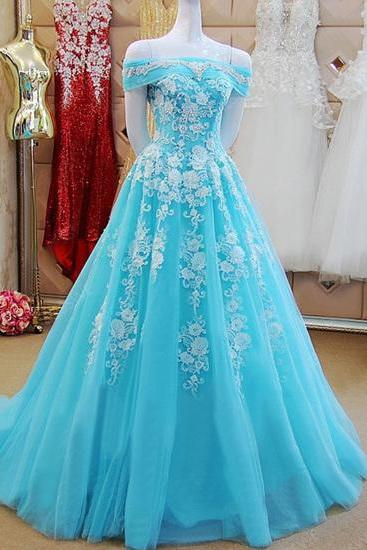 Off Shoulder Long Tulle Prom Dresses Lace Appliques Women Dresses