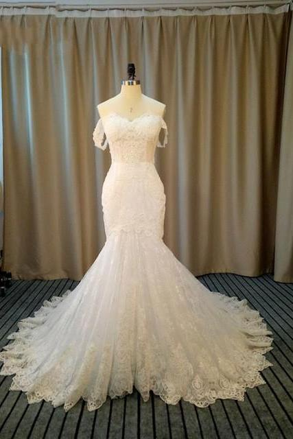Elegant Strapless Appliques Lace Mermaid Wedding Dresses, Sexy Short Sleeve Trumpet Bridal Gown