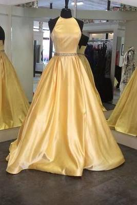 Charming Prom Dress,Princess Prom Dress,Beading Prom Dress,Long Prom Dress,Pink Prom Gown,Backless Prom Dress,Halter Prom Dress,Satin Prom Dress,A-Line Prom Dress,Prom Dresses