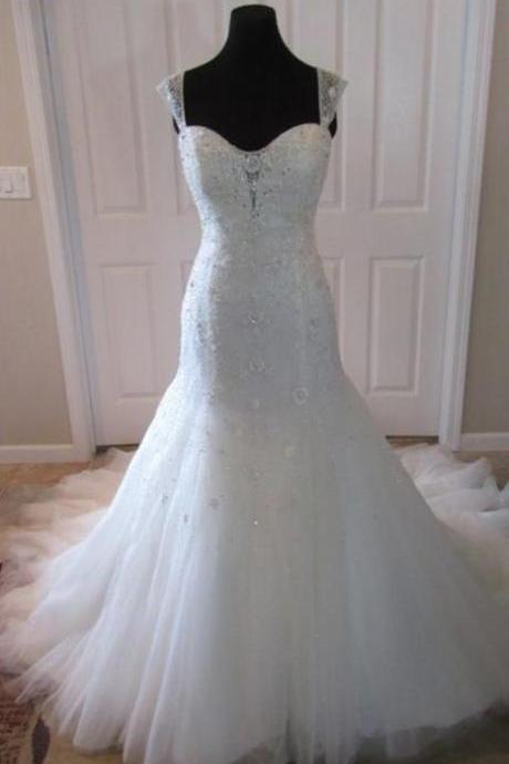 bridals dresses, straps rhinestones sweetheart lace up back mermaid tulle long train wedding dress with beadings