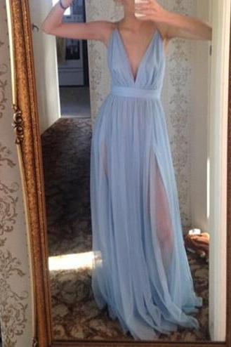 Beautiful Light Blue Long V-neckline Prom Dresses 2017, Sexy Evening Dresses, Blue Party Dresses