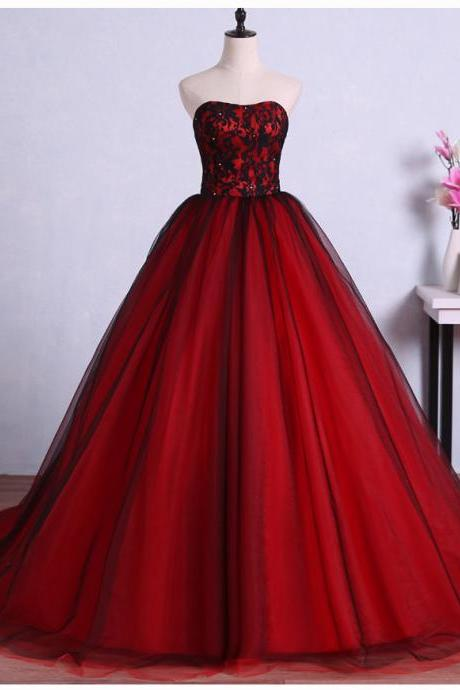 Red and Black Gorgeous Prom Gowns, Party Dresses, Sweet 16 Formal Dresses with Applique