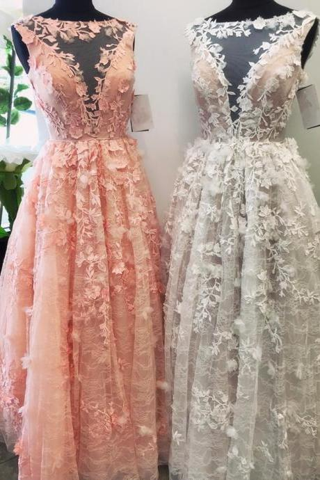 lace prom dress,floral lace dress,pink prom dress,white prom dress,ball gowns prom dress