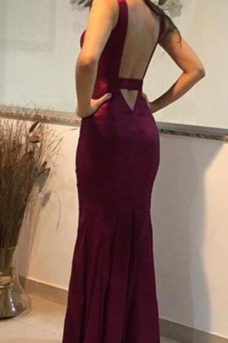 Charming Maroon Satin Deep V Neckline Party Dresses, Pretty Wedding Party Dresses, Long Formal Dresses