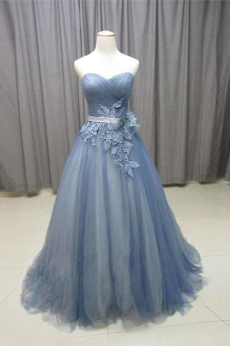 Simple A-Line Sweetheart Gray Blue Tulle Lace Long Prom Dress with Appliques