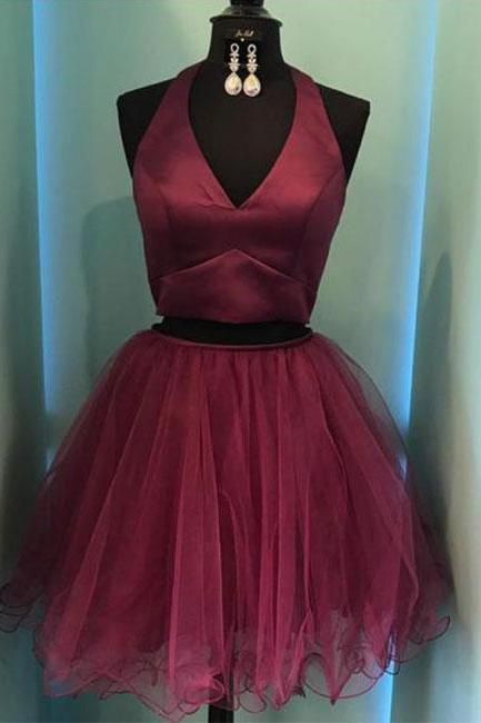 Burgundy Two-Piece Homecoming Dress,V-Neck Short Prom Dress,Halter Homecoming Dresses