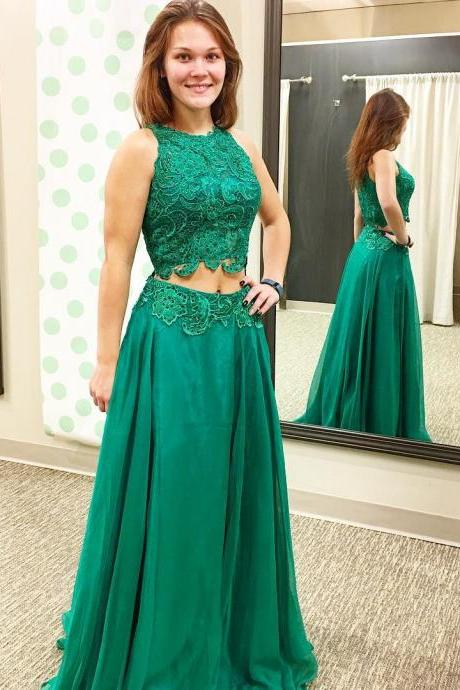 green prom dress,two piece prom dresses,2 piece prom gowns,prom dresses
