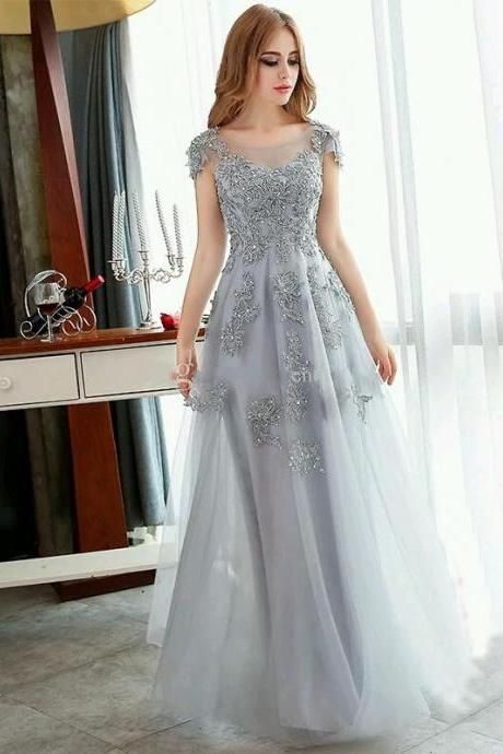 2016 Vintage Silver Prom Dress, Lace Evening Dresses, Short Sleeve Prom Dress, A Line Tulle Party Dresses, Long Prom Dress, Sheer Evening Dress, Formal Evening Prom Dress, Long Party Dress Plus Size, Elegant Runway Dress
