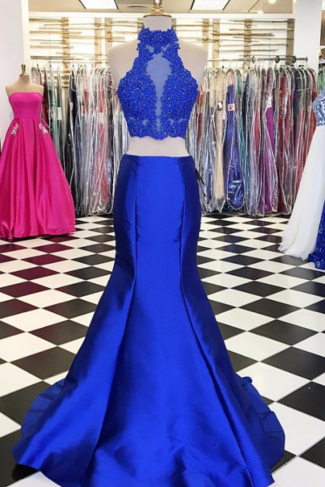 The PROM dress, the royal blue mermaid with a sleeveless lace, two ball gowns