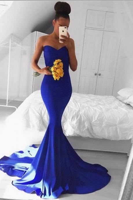 Sweetheart Mermaid Royal Blue Prom Dress,Sexy Sweep Train Evening Dresses