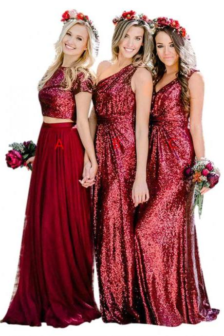 2018 New Arrival Long Bridesmaid Dress,A-Line Cap Sleeves Sequins Two Piece Bridesmaid Dress,One Shoulder Floor Length Bridesmaid Dress,Plus Size V Neck With Sleeves Bridesmaid Dress