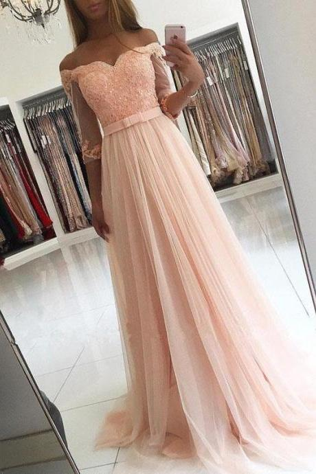 Blush Pink A Line Long Prom Dress,Off The Shoulder Prom Dress,Lace Appliques Tulle Belt Prom Dress,Half Sleeves Prom Dress,Hot Selling Prom Dress
