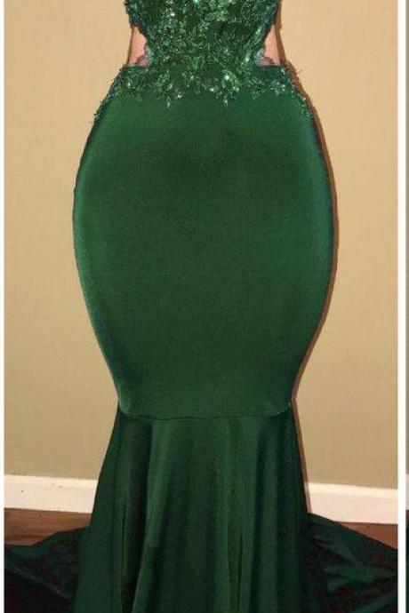 Sexy Mermaid High Neck Long Prom Dress,Hunter Green Lace Satin Prom Dress,Backless Floor Length Prom Dress,Sweep Train Prom Dress,New Arrival Prom Dress