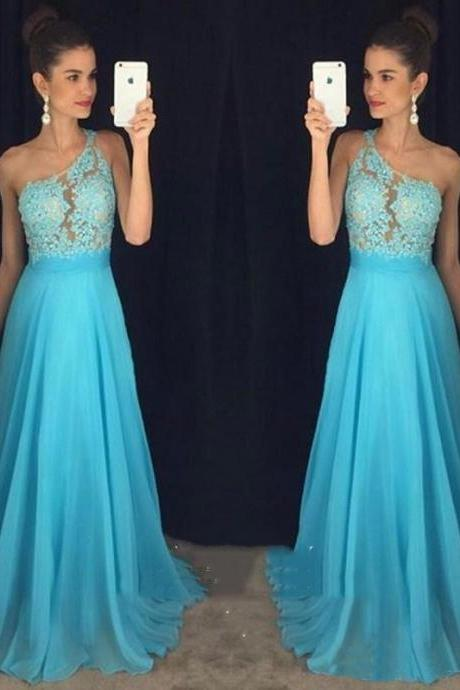 A Line One Shoulder Prom Dress,Light Sky Blue Prom Dress,Appliques Lace Chiffon Prom Dress,New Arrival Prom Dress,Cheap Long Prom Dress