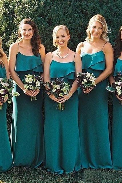 Plus Size Bridesmaid Dress,Teal Bridesmaid Dress,Spaghetti Straps Bridesmaid Dress,A Line Bridesmaid Dress,Cheap Bridesmaid Dress,New Arrival Bridesmaid Dress