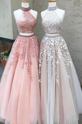 Elegant A Line Halter Prom Dress,Luxury Appliques Bead Rhinestones Prom Dress,Two Piece Tulle Long Prom Dress,Real Pictures Prom Formal Evening Dress